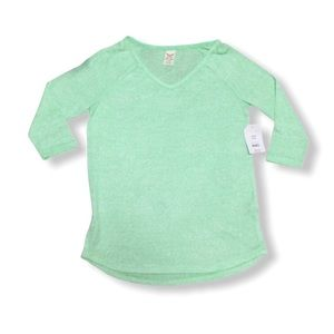 Faded Glory Women's Blouse Top 3/4 Sleeve Green S